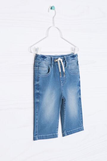 Faded denim shorts with drawstring, Soft Blue, hi-res