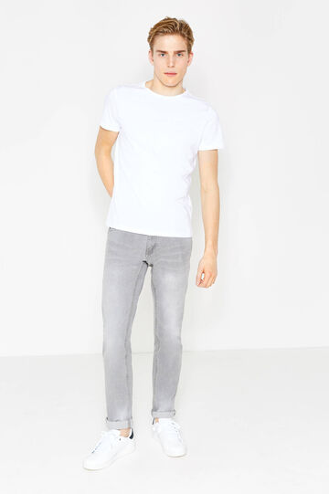Faded, worn-effect slim-fit stretch jeans, Grey, hi-res