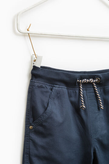 Cotton trousers with drawstring, Deep Blue, hi-res