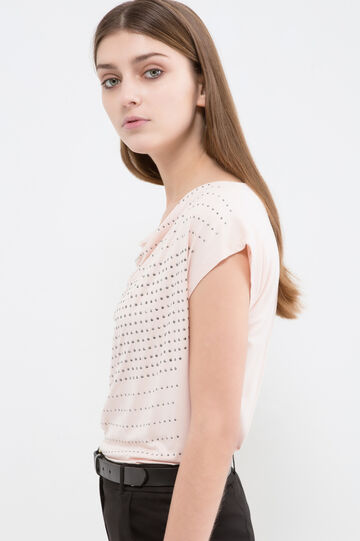 Stretch viscose diamanté T-shirt, Pink, hi-res