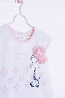 Pagliaccetto cotone stretch stampato, Bianco/Rosa, hi-res