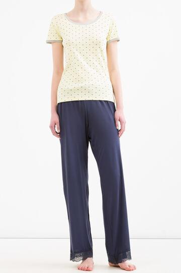 Viscose and lace pyjama trousers, Denim Blue, hi-res