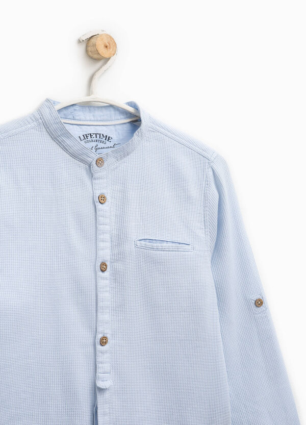 100% cotton micro check shirt | OVS