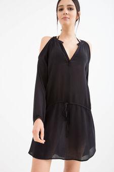 Long-sleeved viscose beach cover-up, Black, hi-res