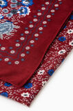 Solid colour scarf with floral print, Red, hi-res