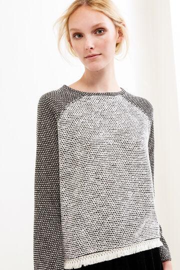 Sweatshirt with raglan sleeves with fringe, Black/White, hi-res