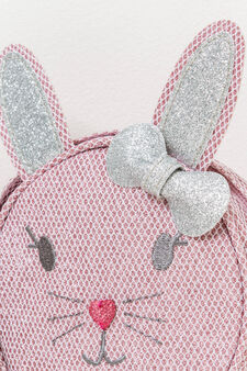 Small bag with rabbit embroidery, Pink, hi-res