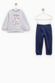 Pyjamas with bow print on chest, Grey/Blue, hi-res