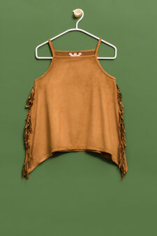 Suede stretch top with fringe, Tobacco Brown, hi-res