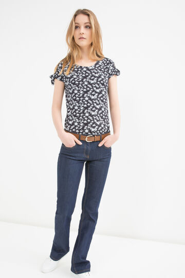 Patterned T-shirt in stretch cotton, Black, hi-res