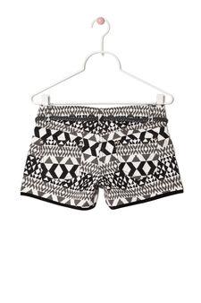 Patterned cotton twill shorts, Ecru, hi-res