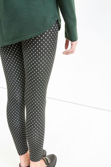 Leggings cotone stretch stampa all-over, Nero, hi-res