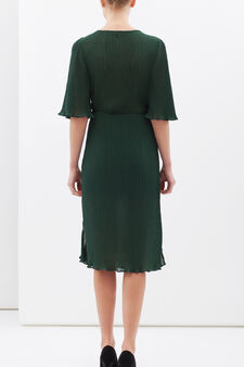 Longuette dress with bow, Green, hi-res