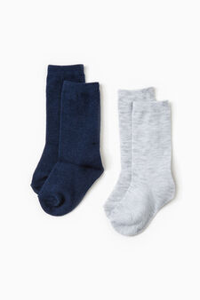 Two-pair pack long stretch cotton socks, Blue/Grey, hi-res