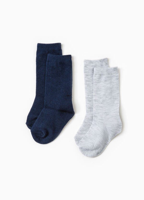 Pack de dos pares de calcetines largos en algodón elástico | OVS
