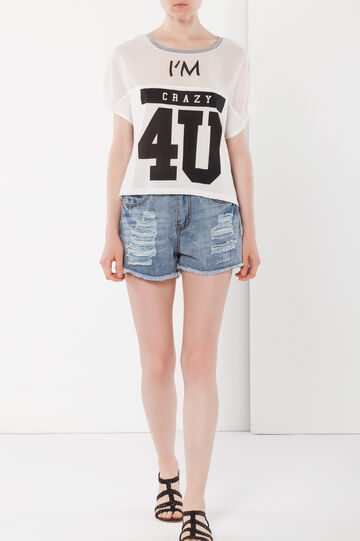 T-shirt with print, White, hi-res