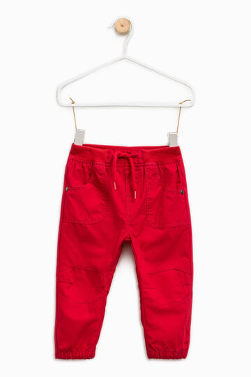 100% cotton joggers with drawstring, Red, hi-res