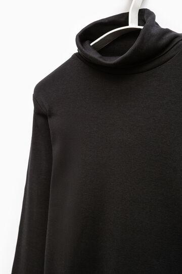 Smart Basic high neck cotton T-shirt, Black, hi-res