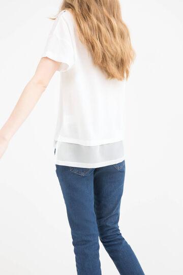 Printed cotton T-shirt, Milky White, hi-res