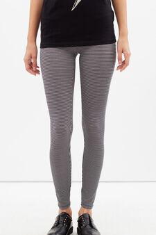 Leggings stretch stampati , Nero, hi-res