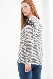 Curvy striped T-shirt in viscose blend., Black/White, hi-res