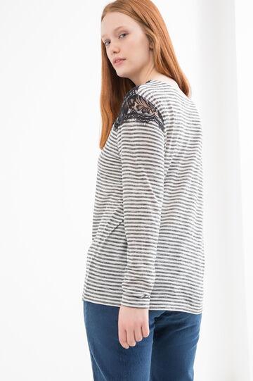 T-shirt misto viscosa a righe Curvy, Nero/Bianco, hi-res