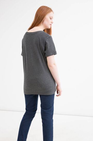 T-shirt puro cotone stampa Curvy, Grigio melange, hi-res