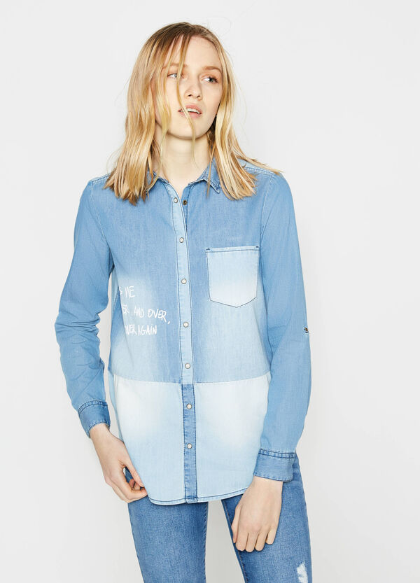 Washed-effect denim shirt with print | OVS