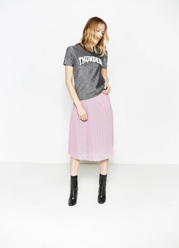 Pleated midi skirt with lurex | OVS