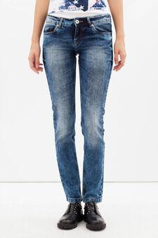 Jeans skinny fit effetto used, Lavaggio chiaro, hi-res