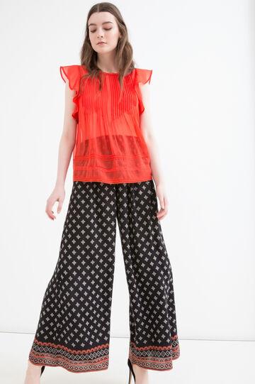 Semi-sheer pleated blouse, Orange, hi-res