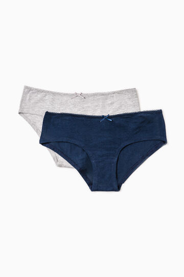 Two-pack solid colour French knickers in cotton, Blue/Grey, hi-res