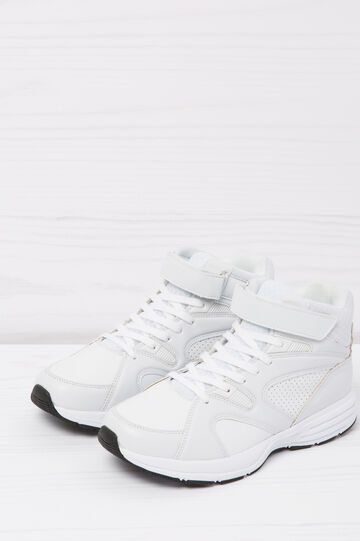 Solid colour high-top sneakers, White, hi-res