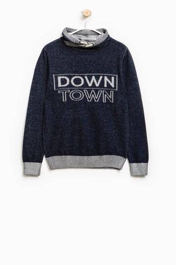 Jersey en punto tricot con motivos de texto, Azul/Gris, hi-res