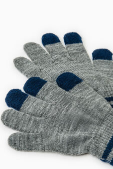 Solid colour gloves with ribbing, Blue/Grey, hi-res