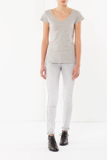 T-shirt with a V neck, Light Grey Marl, hi-res