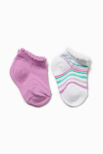 Set due paia di calze unito e righe, Bianco/Viola, hi-res