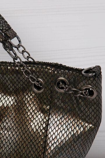 Snakeskin look shoulder bag, Brown, hi-res