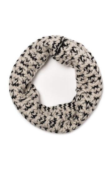 Knitted loop scarf, Ivory White, hi-res