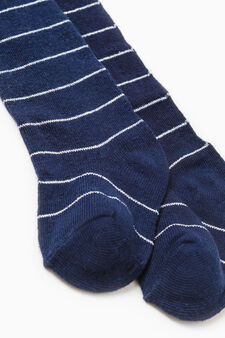 Striped tights in stretch cotton, Grey/Blue, hi-res