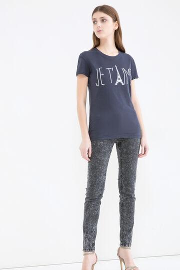 Printed cotton T-shirt, Blue, hi-res