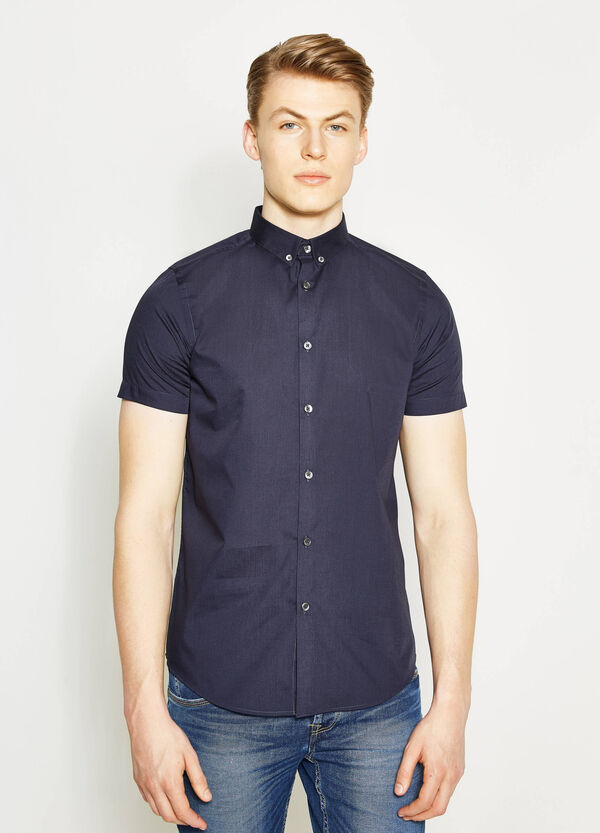 Casual slim-fit shirt with button down collar | OVS