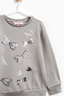 Cotton sweatshirt with glitter, sequins and diamantés, Dark Grey Marl, hi-res