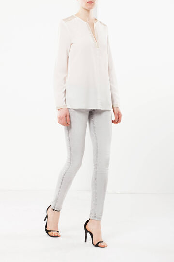Long-sleeved blouse with satin, White, hi-res