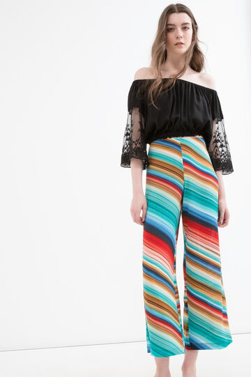 Stretch trousers with high waist, Multicolour, hi-res