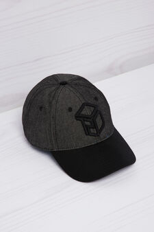 Embroidered cotton baseball cap, Black, hi-res