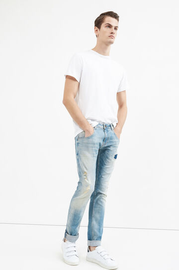 Stretch jeans with contrasting stitching, Light Wash, hi-res