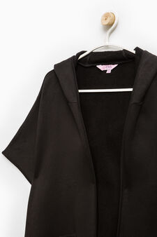 Fleece cape with pockets, Black, hi-res