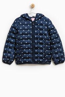 Star print down jacket with hood, Blue, hi-res