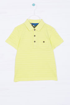 Solid colour polo shirt in 100% cotton, Yellow, hi-res